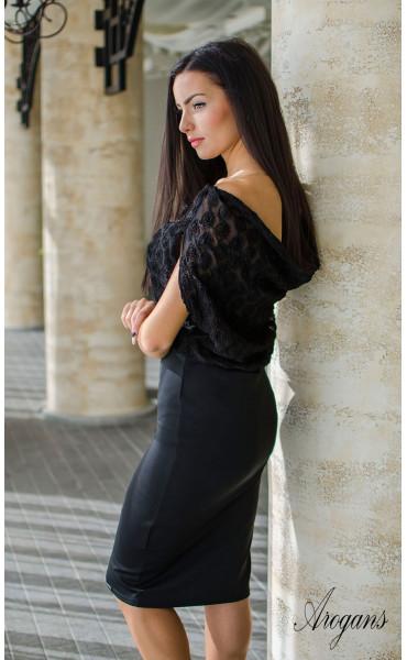 Официална вечерна рокля в черно с гръцки гръб Caroline_16031