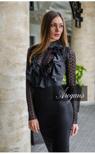Елегантна рокля с богато жабо и нежна дантела Black Opal _16040