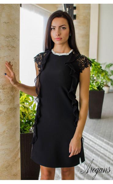 Елегантна черна мини рокличка от габардин с нежни детайли и кокетно декoлте_16052