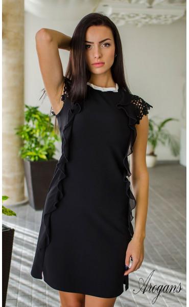 Елегантна черна мини рокличка от габардин с нежни детайли и кокетно декoлте_16054