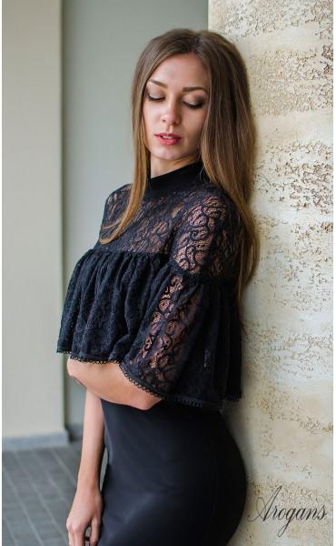 Вечерна рокля с дантела и декорация La Femme_16068