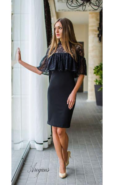 Вечерна рокля с дантела и декорация La Femme_16069