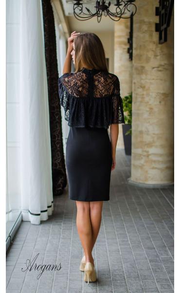 Вечерна рокля с дантела и декорация La Femme_16070
