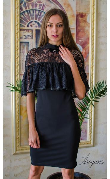 Вечерна рокля с дантела и декорация La Femme_16073
