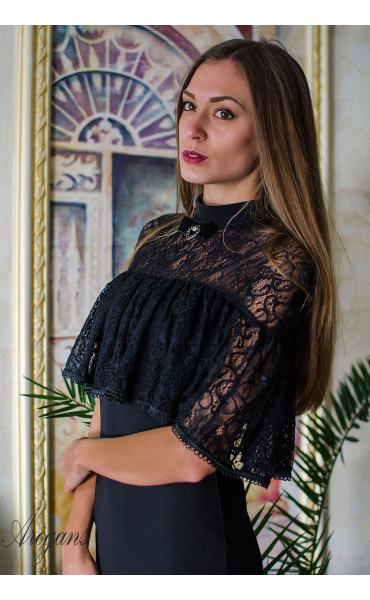 Вечерна рокля с дантела и декорация La Femme_16074