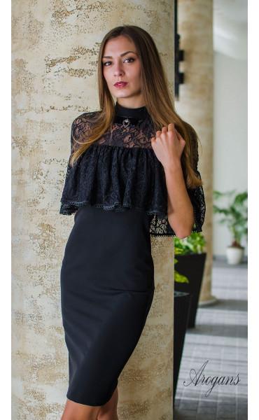 Вечерна рокля с дантела и декорация La Femme_16085