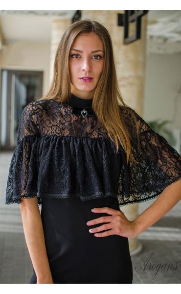 Вечерна рокля с дантела и декорация La Femme_16086