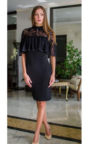 Вечерна рокля с дантела и декорация La Femme_16087