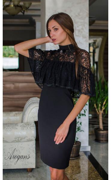 Вечерна рокля с дантела и декорация La Femme_16088