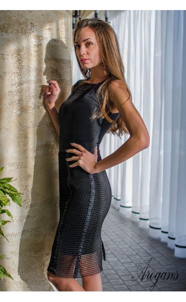 Комплект в черно рокля с пола мрежа Femme Fatale_16101