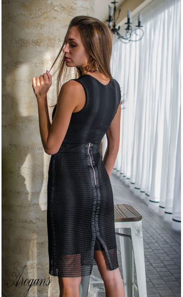 Комплект в черно рокля с пола мрежа Femme Fatale_16104