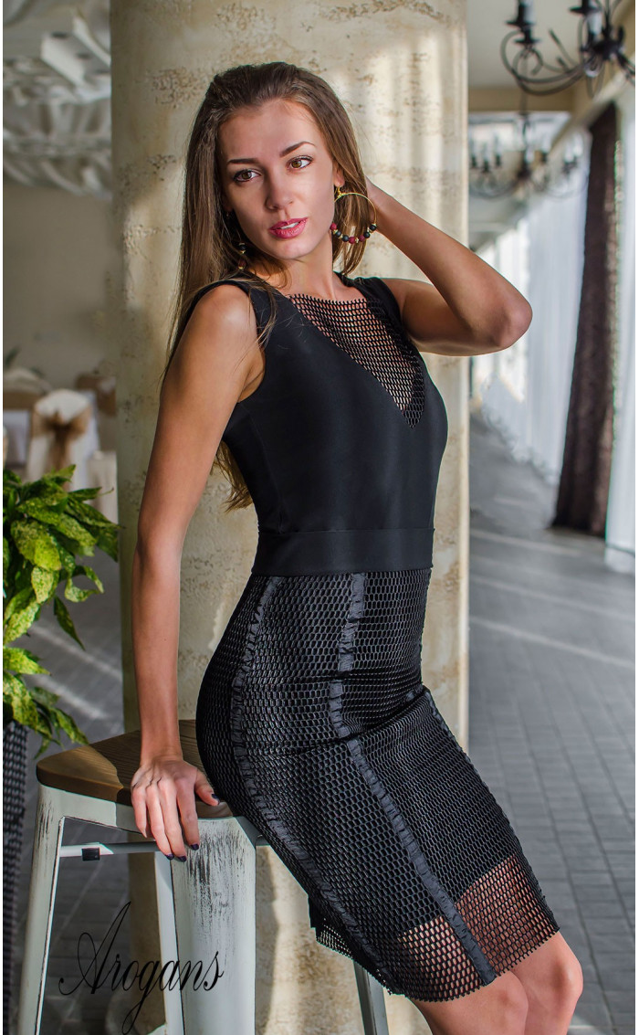 Комплект в черно рокля с пола мрежа Femme Fatale