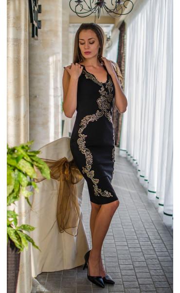Вечерна официална рокля със златисти орнаменти Golden Queen_16108