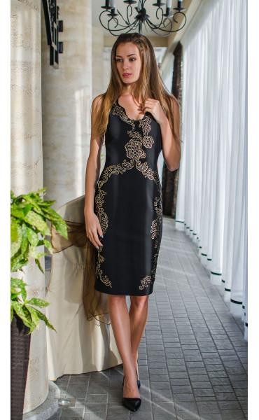 Вечерна официална рокля със златисти орнаменти Golden Queen_16109