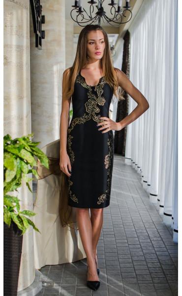Вечерна официална рокля със златисти орнаменти Golden Queen_16110