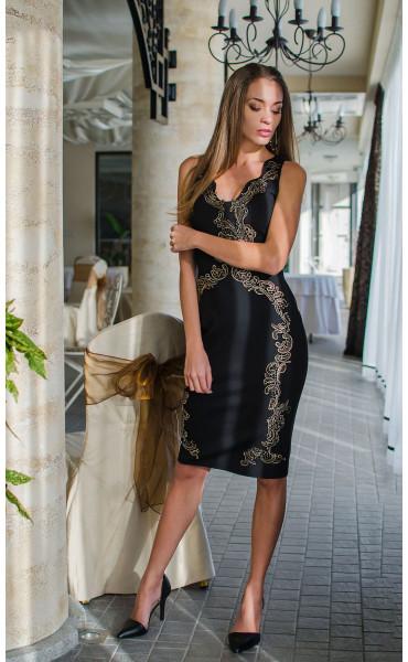 Вечерна официална рокля със златисти орнаменти Golden Queen_16111