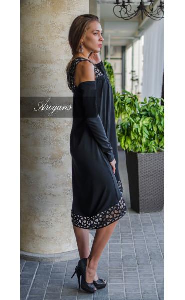 Официална рокля свободен силует с разчупен дизайн при ръкавите_16185