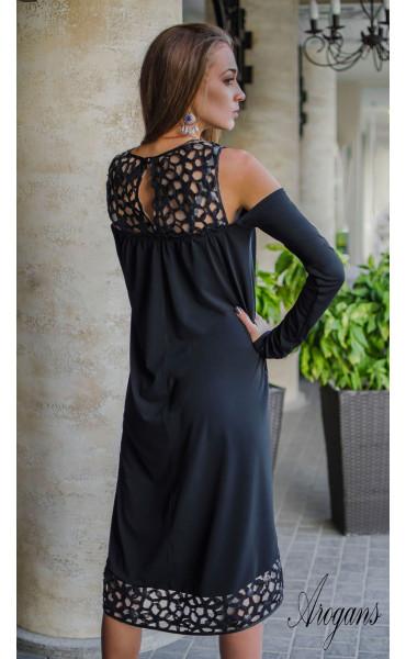 Официална рокля свободен силует с разчупен дизайн при ръкавите_16186