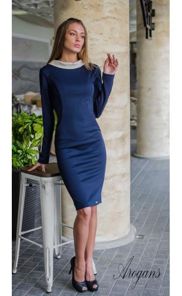 Ежедневна и елегантна рокля в тъмно синьо и бежово_16267