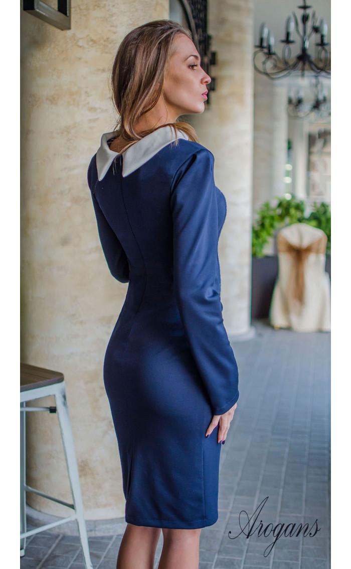 Ежедневна и елегантна рокля в тъмно синьо и бежово