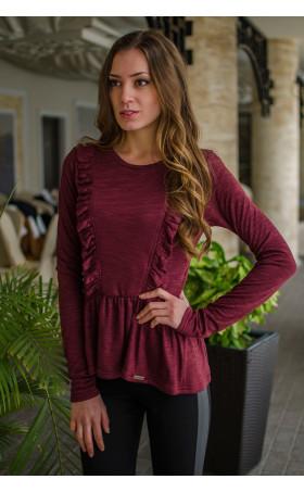 Кокетна блузка в цвят Marsala