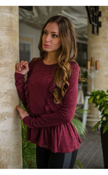 Кокетна блузка в цвят Marsala_16308