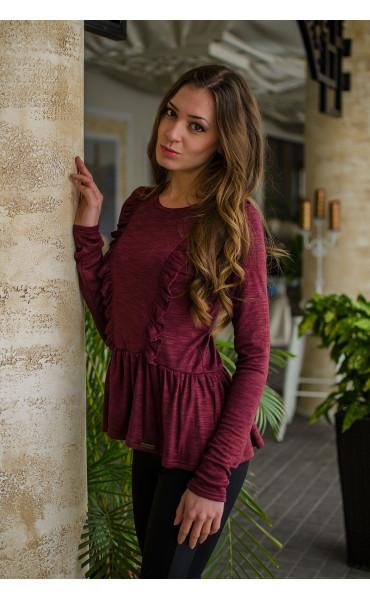 Кокетна блузка в цвят Marsala_16309