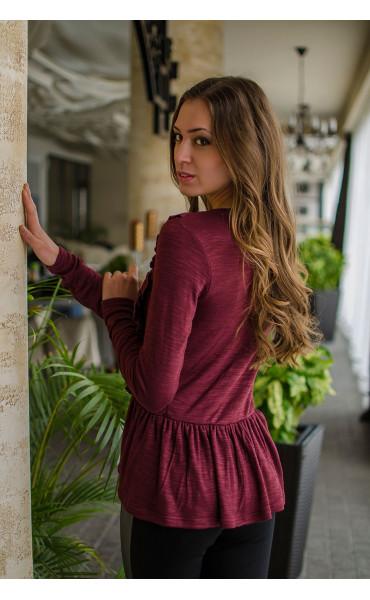 Кокетна блузка в цвят Marsala_16310