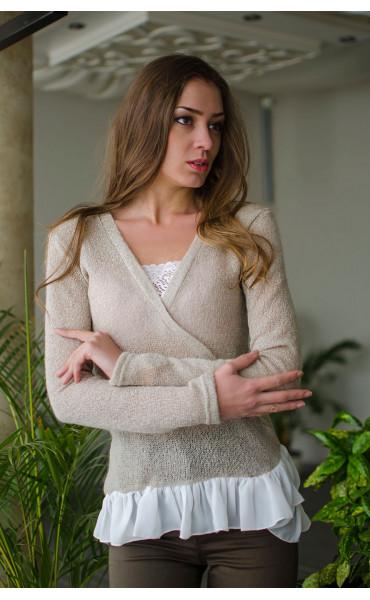 Нежна блузка от плетиво и закачливи детайли _16324