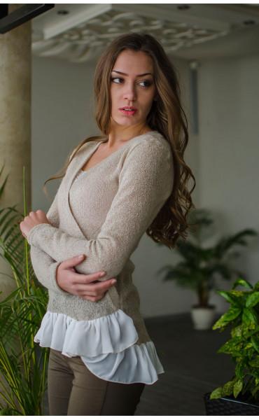 Нежна блузка от плетиво и закачливи детайли _16325