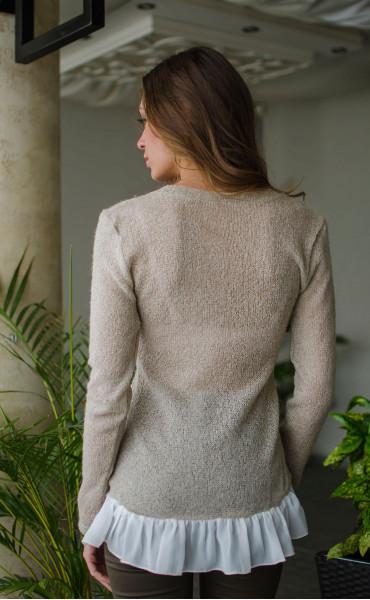 Нежна блузка от плетиво и закачливи детайли _16326