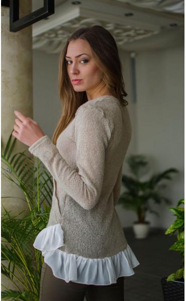 Нежна блузка от плетиво и закачливи детайли _16327