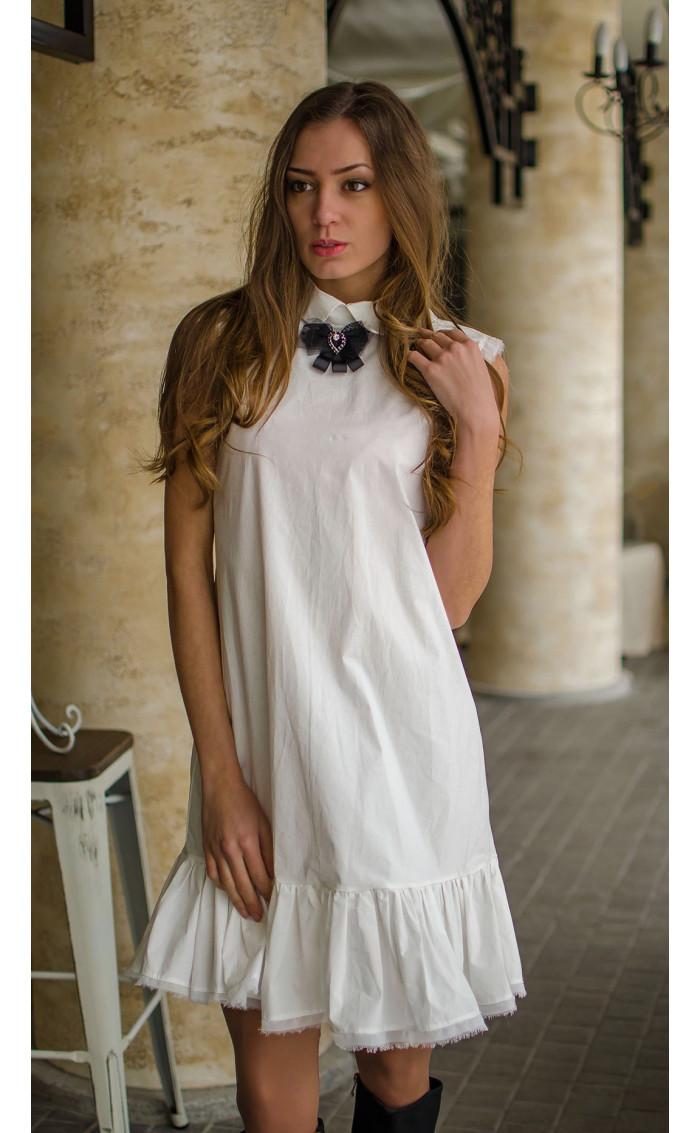 Нежна бяла рокля от памук Romantic white