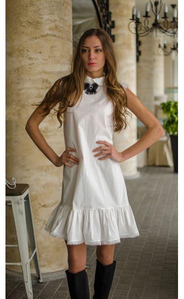 Нежна бяла рокля от памук Romantic white_16355