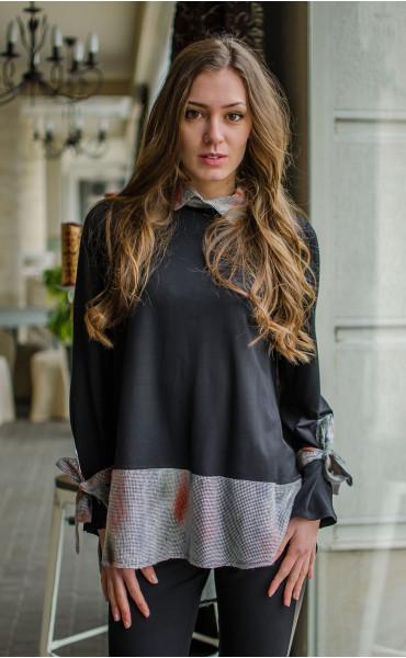 Спортна блузка с асиметрична дължина и връзки при ръкавите