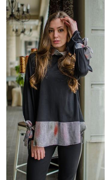 Спортна блузка с асиметрична дължина и връзки при ръкавите_16366