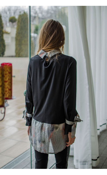 Спортна блузка с асиметрична дължина и връзки при ръкавите_16368