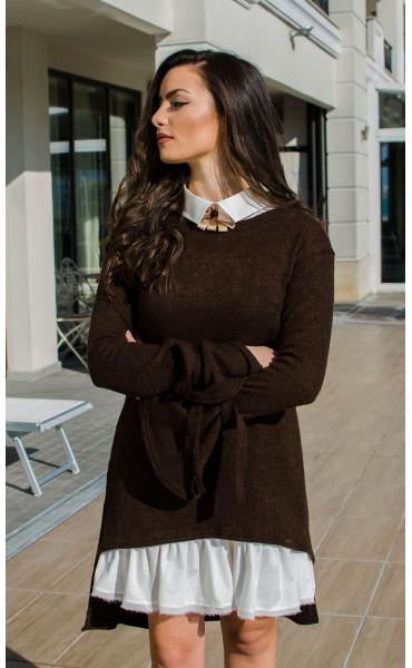 Комплект туника от плетиво и рокля памук  Romance Chocolate_16418