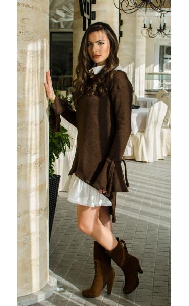 Комплект туника от плетиво и рокля памук  Romance Chocolate_16419