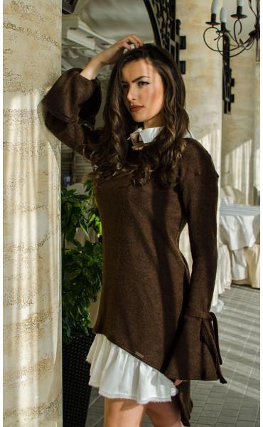 Комплект туника от плетиво и рокля памук  Romance Chocolate_16420