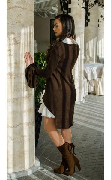 Комплект туника от плетиво и рокля памук  Romance Chocolate_16421