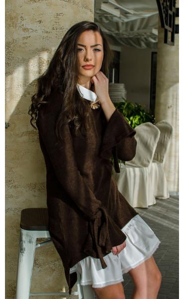 Комплект туника от плетиво и рокля памук  Romance Chocolate_16422
