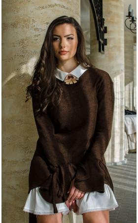 Комплект туника от плетиво и рокля памук  Romance Chocolate