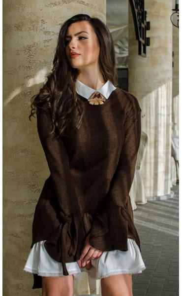 Комплект туника от плетиво и рокля памук  Romance Chocolate_16424