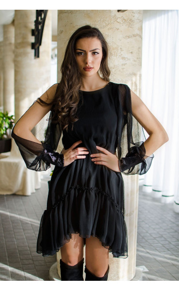 Ефирна рокля в черно Dark side_16434