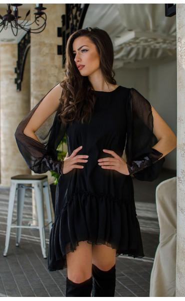 Ефирна рокля в черно Dark side_16436