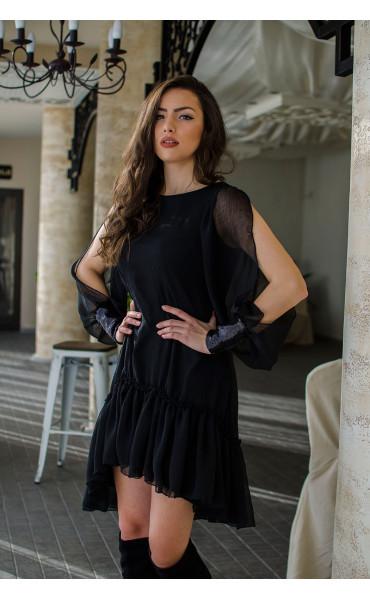 Ефирна рокля в черно Dark side_16437