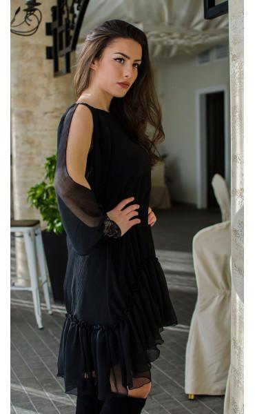 Ефирна рокля в черно Dark side_16439
