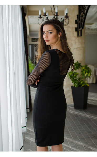 Официална черна рокля с фина мрежа_16464