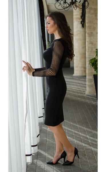 Официална черна рокля с фина мрежа_16465